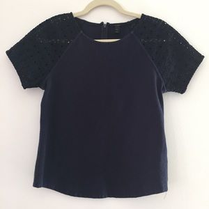 J. Crew | Lace Sleeve Top